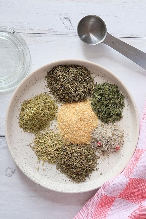 healthy alie, mélange assaisonnement italien, ail, thym, basilic, origan, persil, sauces, condiments