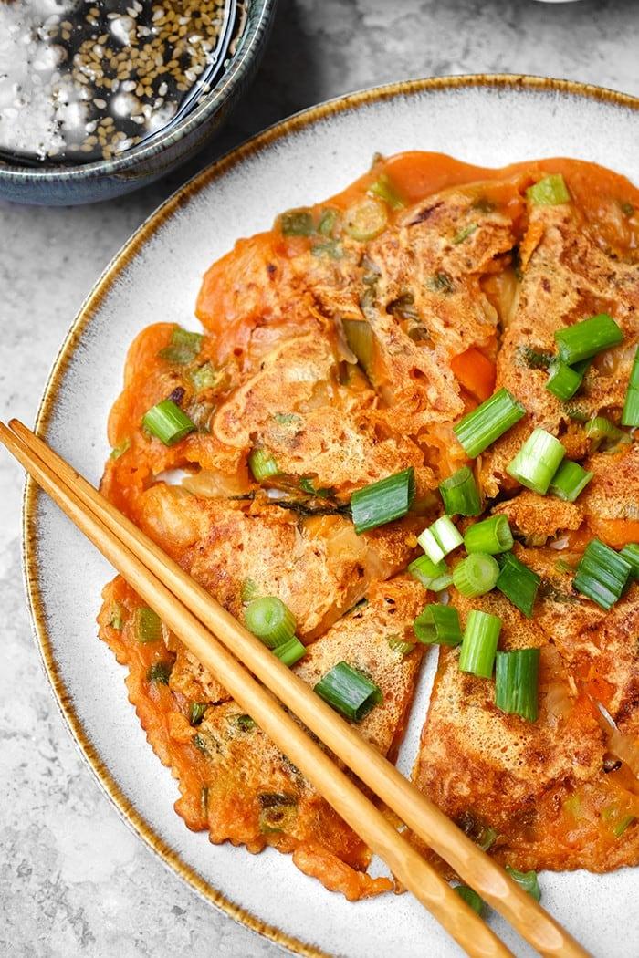 kimchi, vegan, sans gluten, kimchijeon, pancakes, recette coréenne, healthy alie