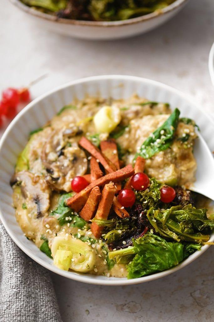 recette vegan de porridge salé aux champignons par healthy alie